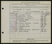Entry card for Gisch, William S. for the 1932 May Show.