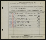 Entry card for Goodman, A. H. for the 1932 May Show.