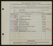 Entry card for Goski, John for the 1932 May Show.