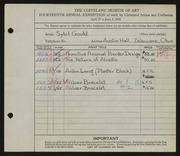 Entry card for Gould, Sybil Josephine for the 1932 May Show.