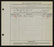Entry card for Grant, Mabel S. for the 1932 May Show.