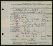Entry card for Grauer, Natalie Eynon for the 1932 May Show.