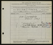 Entry card for Grauer, William C. for the 1932 May Show.