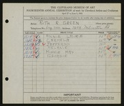 Entry card for Green, Ruth R. for the 1932 May Show.