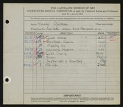 Entry card for Guilbeau, Honore for the 1932 May Show.