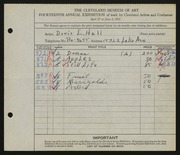 Entry card for Hall, Doris Elizabeth for the 1932 May Show.