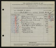 Entry card for Hall, Edgar S. for the 1932 May Show.