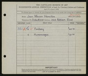 Entry card for Hamilton, Jean Marion for the 1932 May Show.