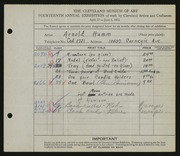 Entry card for Hamm, Arnold C. for the 1932 May Show.