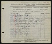 Entry card for Harbst, Frederick J. for the 1932 May Show.