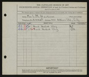 Entry card for Hardiman, Laura M. for the 1932 May Show.