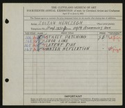 Entry card for Herczegh, Zoltan for the 1932 May Show.