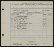 Entry card for Hexter, Paul Louis for the 1932 May Show.