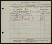 Entry card for Hill, David Wyers for the 1932 May Show.