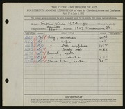 Entry card for Hitchings, Frederic Wade for the 1932 May Show.