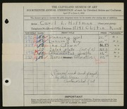 Entry card for Hoffman, Carol L., and Cleveland School of Art; Dyer, Nora E. for the 1932 May Show.