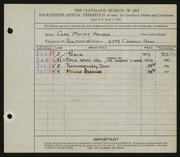 Entry card for Holden, Cora for the 1932 May Show.