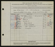 Entry card for Holden, Rhonda E. for the 1932 May Show.