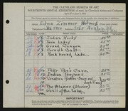 Entry card for Holmes, Edna Zimmer for the 1932 May Show.