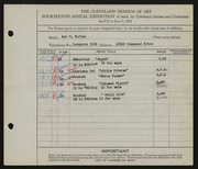 Entry card for Horton, Ann V. for the 1932 May Show.