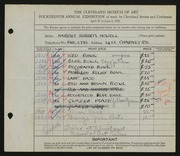 Entry card for Howell, Harriet Roberts, and Cleveland School of Art for the 1932 May Show.