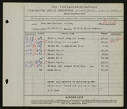 Entry card for Jeffery, Charles Bartley, and Cleveland School of Art for the 1932 May Show.