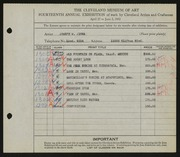 Entry card for Jicha, Joseph W. for the 1932 May Show.