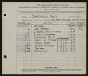 Entry card for Kagy, Sheffield for the 1932 May Show.