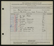 Entry card for Kaplan, Philip for the 1932 May Show.