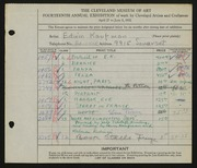 Entry card for Kaufman, Edwin for the 1932 May Show.