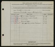 Entry card for Keller, Henry L. for the 1932 May Show.