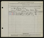Entry card for King, Mary Louise for the 1932 May Show.