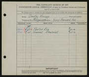 Entry card for Kirsop, Dorothy for the 1932 May Show.