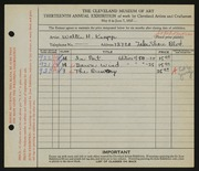 Entry card for Knapp, Walter H. for the 1932 May Show.