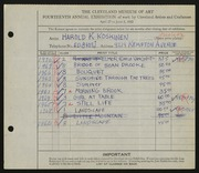 Entry card for Koskinen, Harold K. for the 1932 May Show.