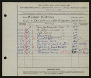 Entry card for Kubinyi, Kalman for the 1932 May Show.