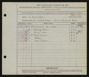 Entry card for Kulcsar, E. for the 1932 May Show.