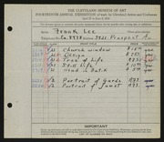 Entry card for Lee, Frank for the 1932 May Show.