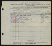Entry card for Lentine, James for the 1932 May Show.