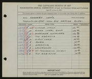 Entry card for Lenz, Norbert for the 1932 May Show.