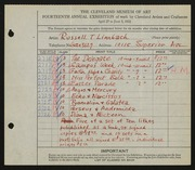 Entry card for Limbach, Russell T. for the 1932 May Show.