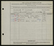 Entry card for Lindseth, Anne Ellen Fluckey for the 1932 May Show.