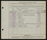 Entry card for Lockwood, Ted for the 1932 May Show.