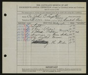 Entry card for Lupton, John C.  for the 1932 May Show.
