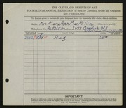 Entry card for MacMillin, Mary Ann for the 1932 May Show.