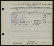 Entry card for Marker, Thomas for the 1932 May Show.