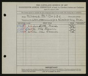 Entry card for McBride, Mildred for the 1932 May Show.