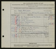 Entry card for McClean, Clara for the 1932 May Show.