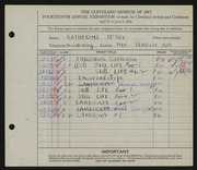 Entry card for McKee, Katherine Louise for the 1932 May Show.
