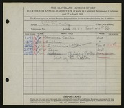 Entry card for McVey, William Mozart for the 1932 May Show.